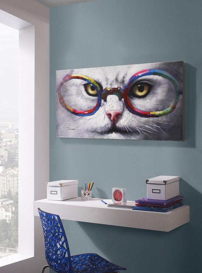 cuadro gato con gafas de schuller