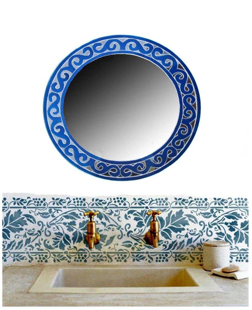 espejos en color azul