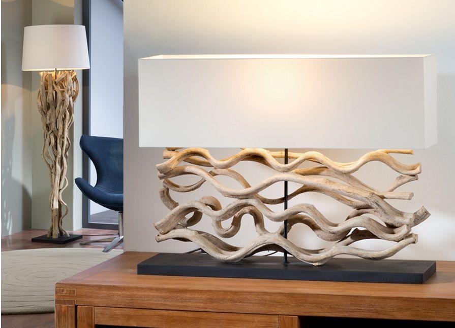 lampara sobremesa de madera