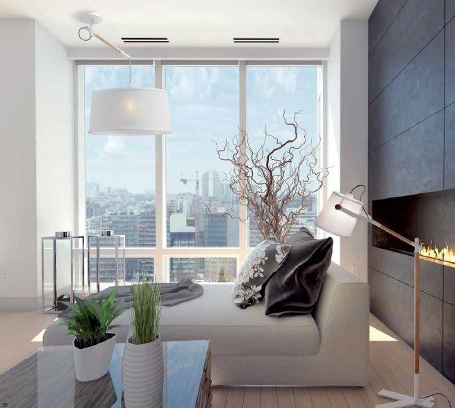 lampara pie salon y lampara techo nordica