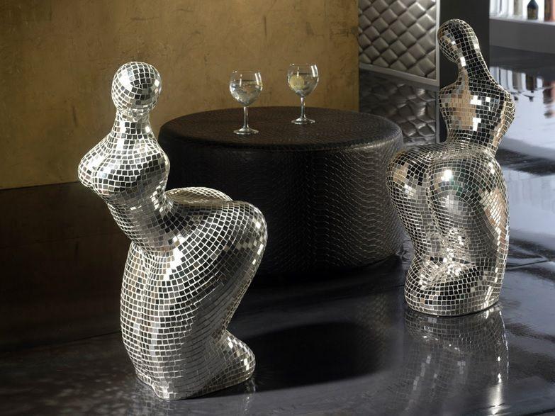 taburete de cristal espejo