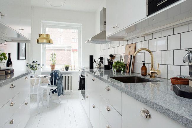 lampara de techo cocina dorado espejo