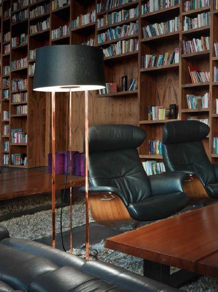 Lámpara de Pie de Salón bronce pantalla negra