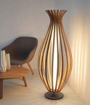 lampara de pie de salon bambú