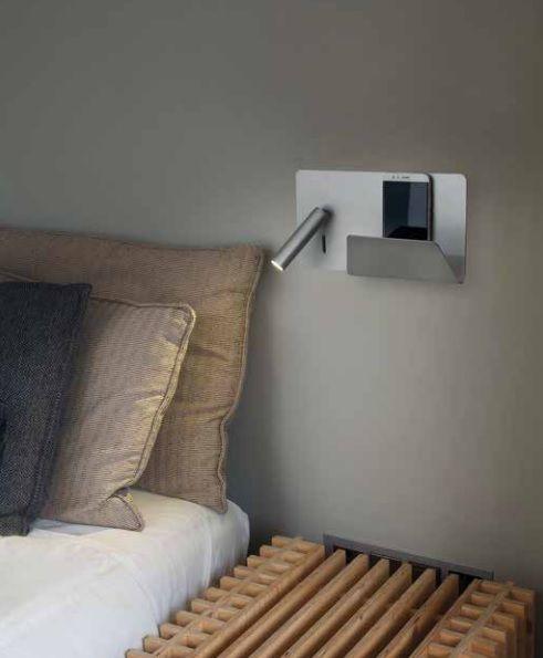 Apliques para cabecero de cama con bandeja y usb - Lampara lectura cama ...