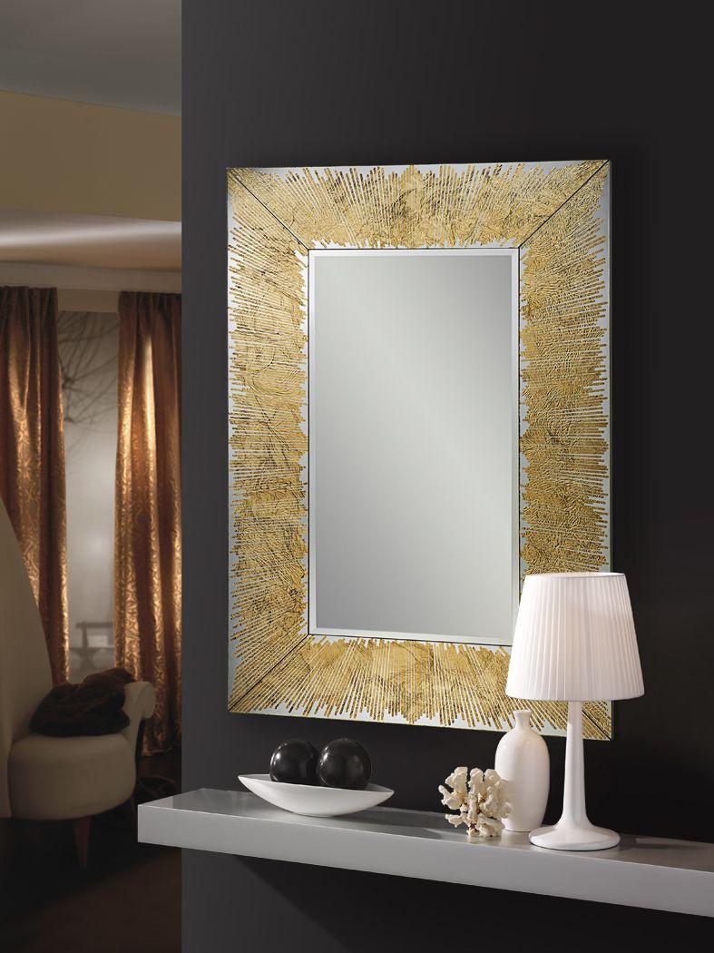 espejos oro con marco de cristal