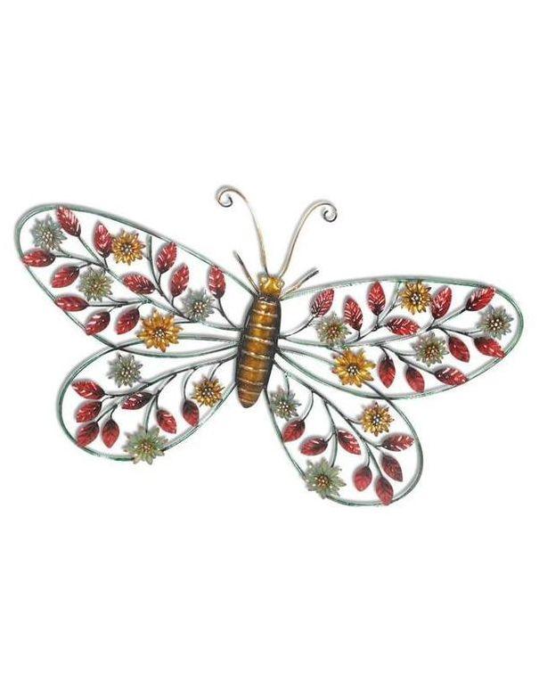 Mariposa de metal con piedras de colores para colgar en la - Mariposas para pared ...