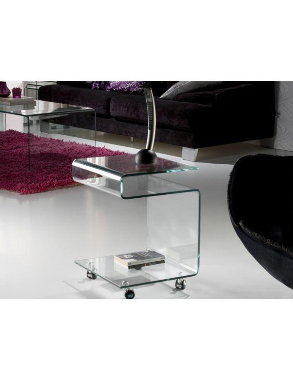 Mesa con Ruedas Cristal Templado