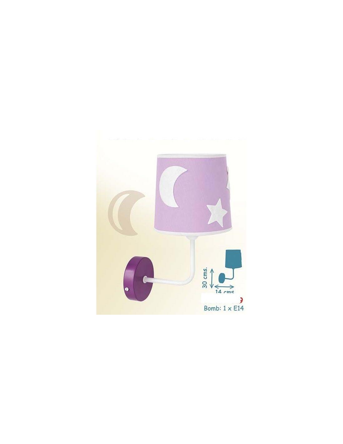 Aplique de pared color lila con pantalla de tela ofertas for Lamparas pared infantiles