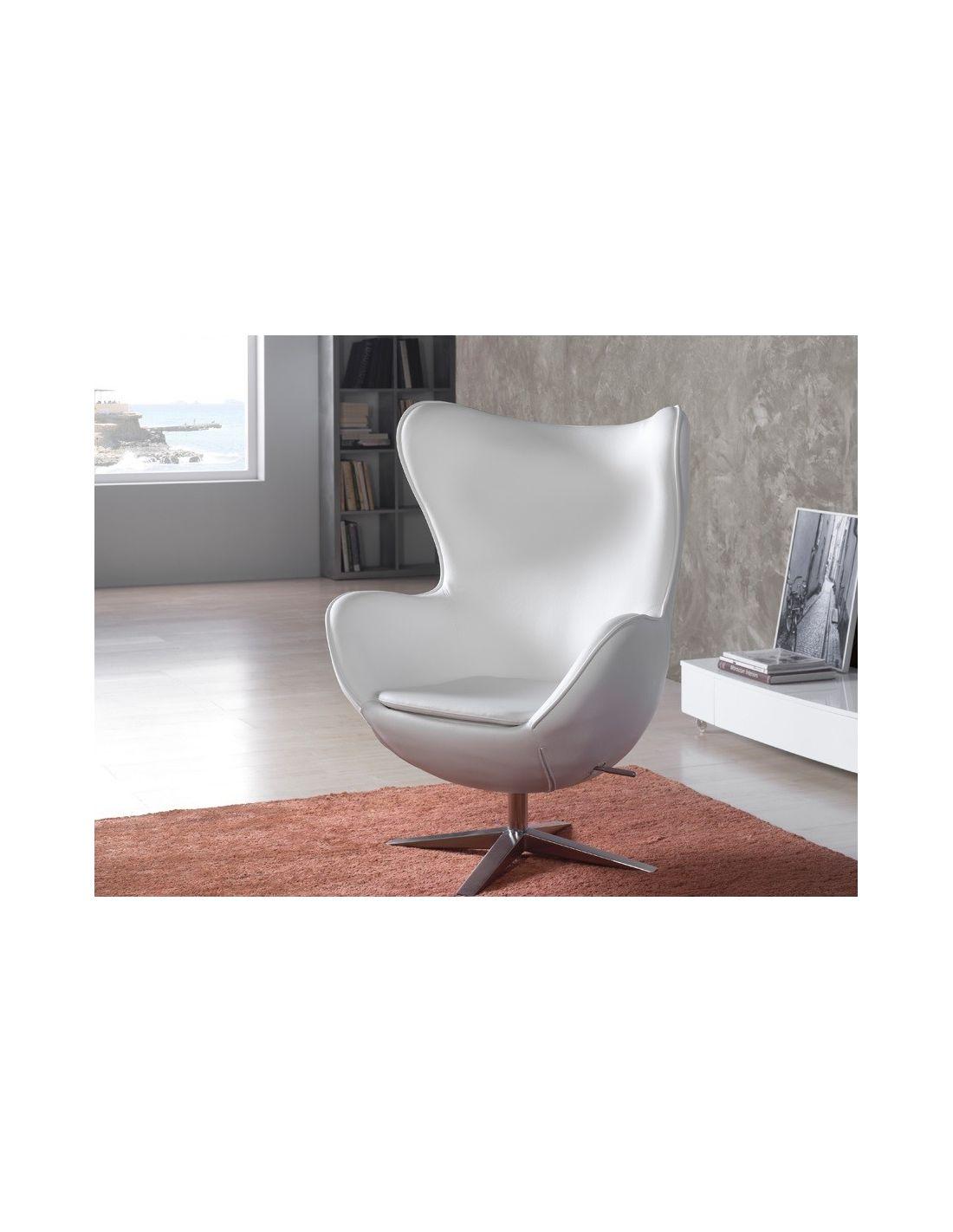 Sill n egg blanca ecopiel colecci n de sillones jeans de for Sillon blanco para dormitorio