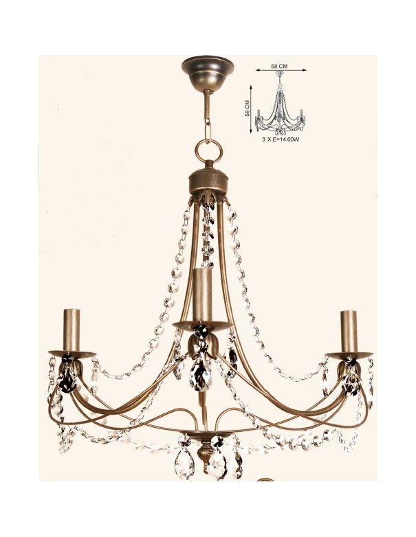 Lámpara de techo Dorado Envejecido
