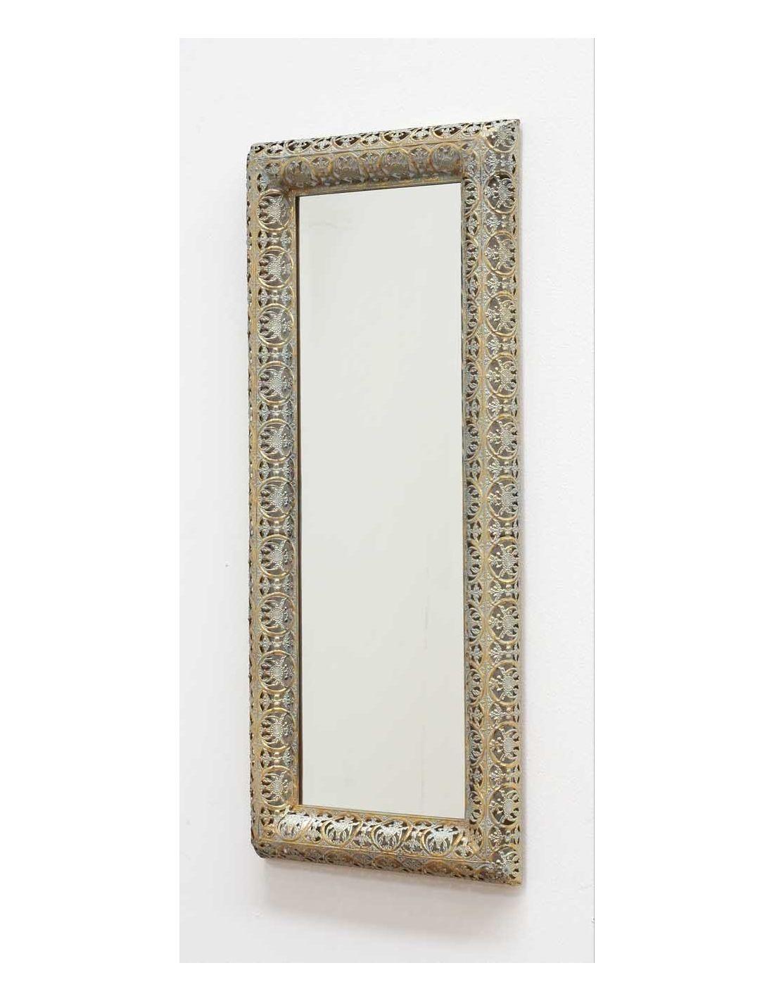 espejo rectangular de metal calado dorado ofertas
