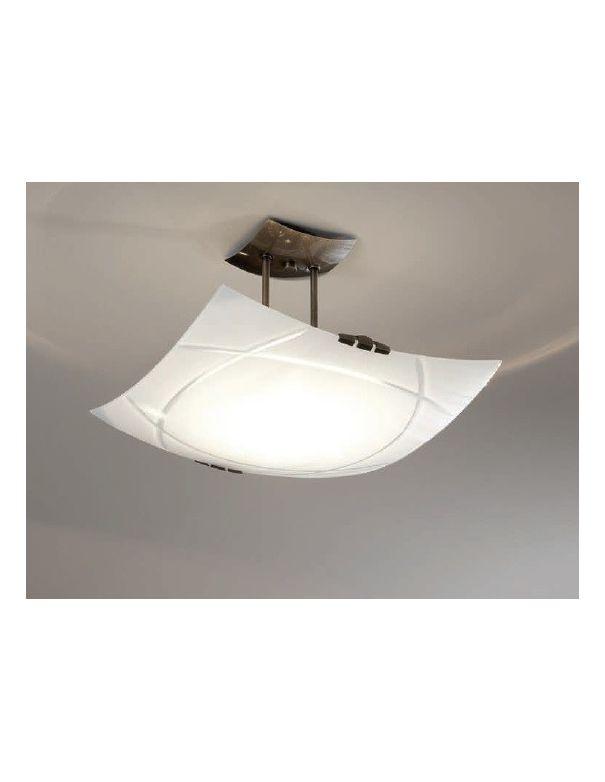 L mpara plaf n de techo de cristal talla opal for Plafones pared dormitorio