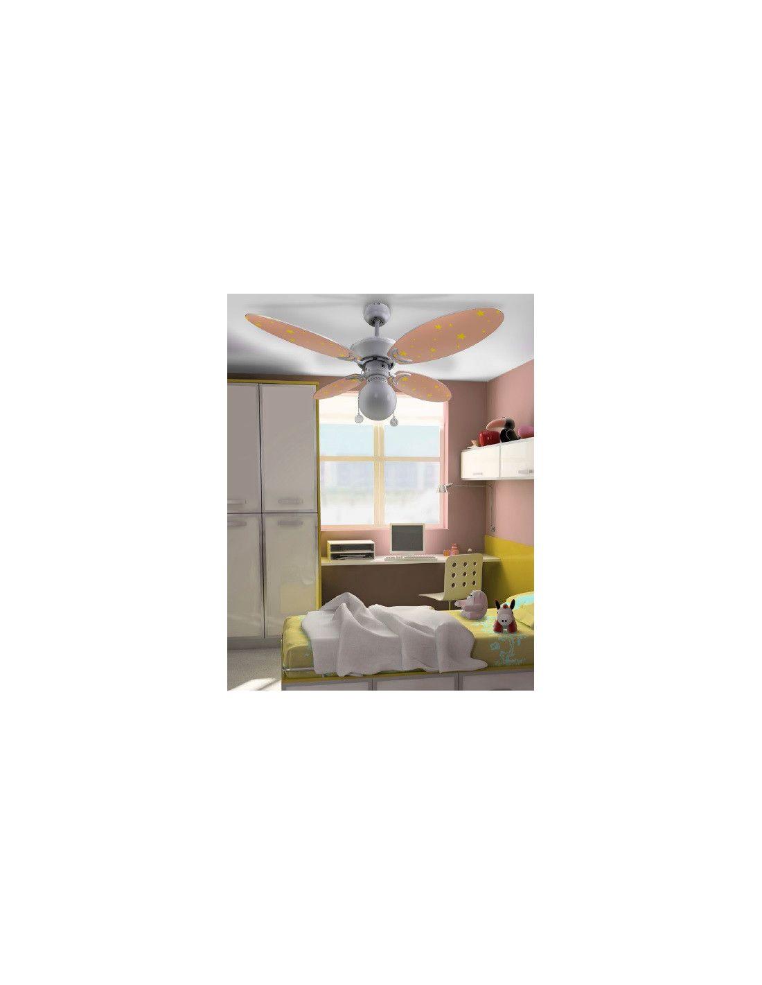Ventilador de techo infantil con estrellas - Lampara techo infantil ...