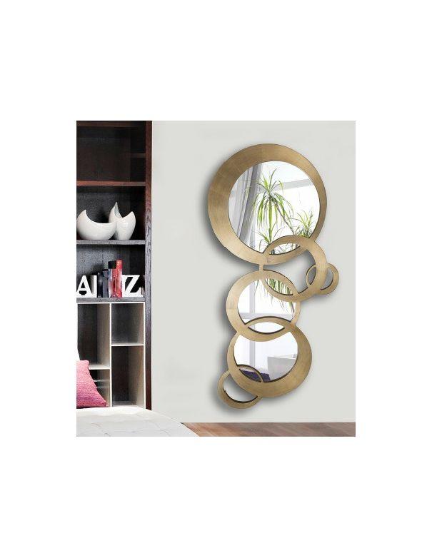 Espejo oro con c rculos decorativo env o gratis for Espejos dorados baratos