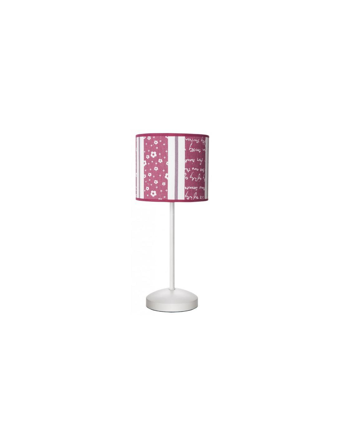 Lamparita infantil estampada en tonos rosa para dormitorio - Lamparas de mesilla ...