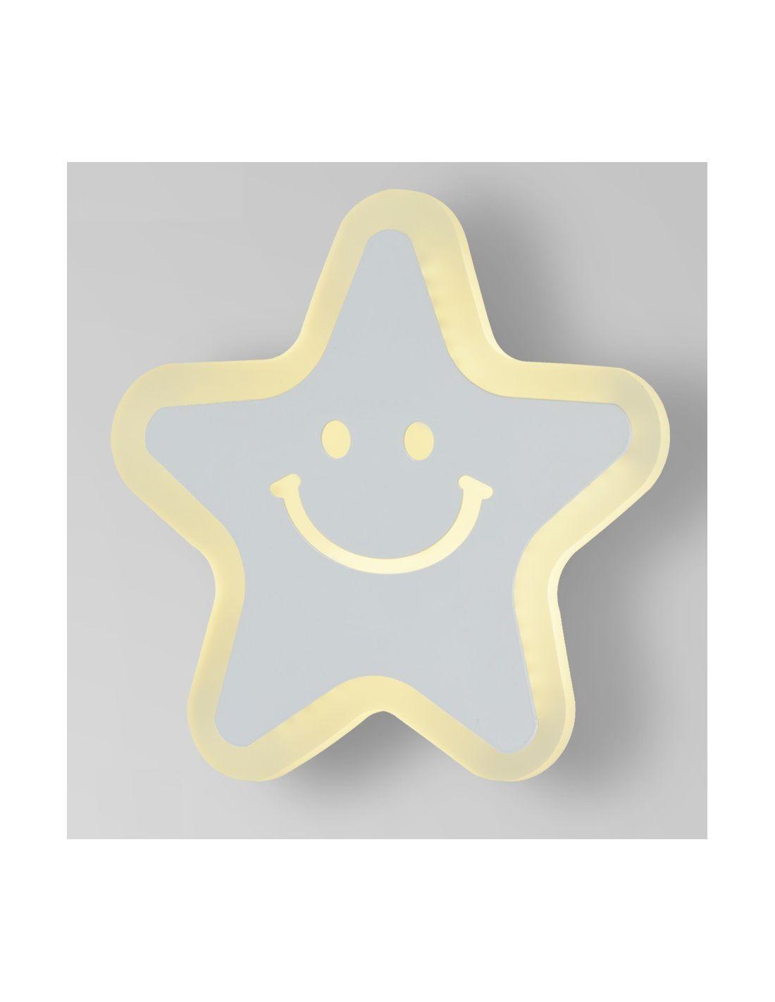 Aplique de pared infantil o juvenil led con forma de estrella for Lamparas pared infantiles