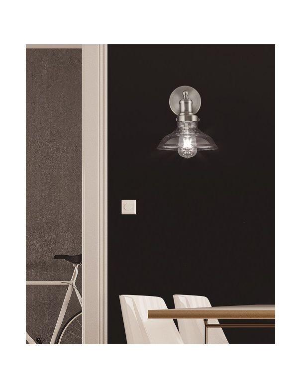 Aplique industrial con tulipa de cristal en n quel mate - Apliques pared dormitorio ...
