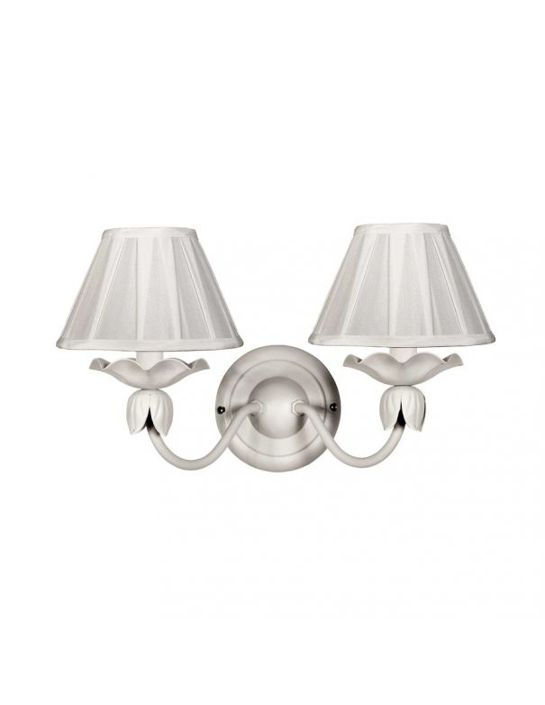 Forja aplique de 2 luces blanco fabricado en espa a for Lamparas de pared interior