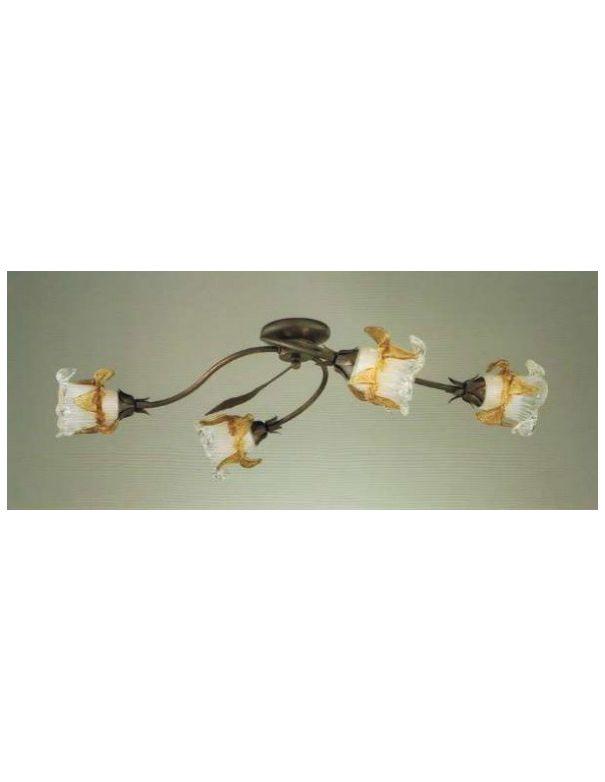 Plafones de 4 luces cuero con tulipas de cristal mbar - Lamparas baratas madrid ...