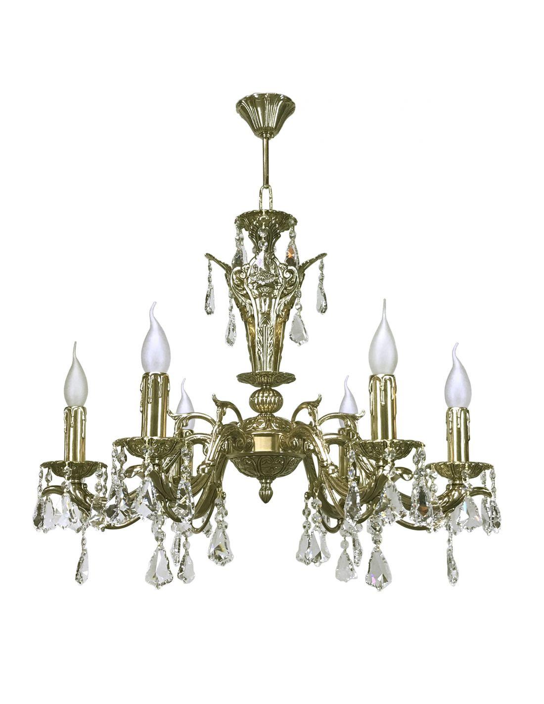 L mpara de 6 luces de bronce con cristal asfour fabricada - Lamparas baratas madrid ...