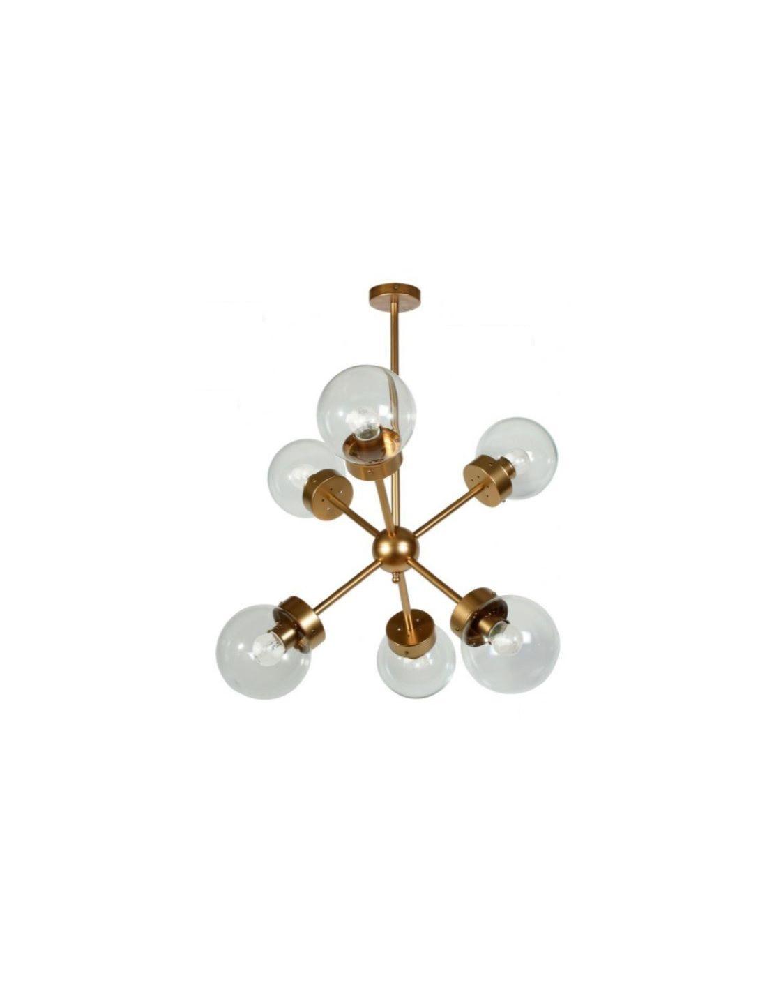 lámpara sputnik de 6 luces dorada. compra online o por teléfono