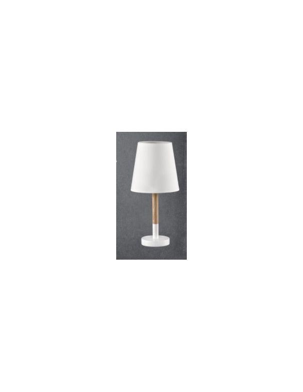 Lámparas Sobremesa con madera y pantalla blanca estilo nórdico.