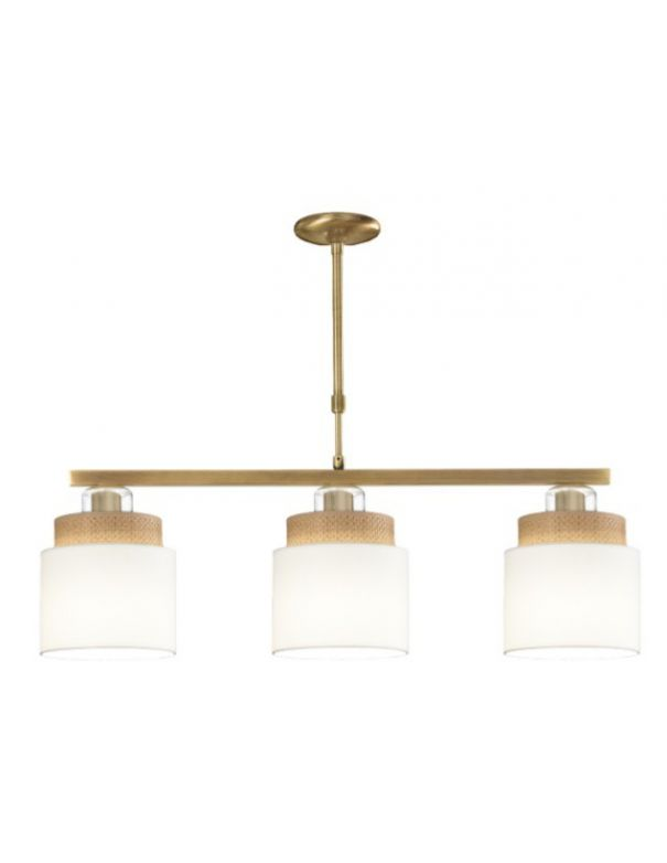 lampara dorada con pantallas de tela y rafia