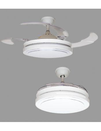 ventilador de techo palas retráctiles blanco