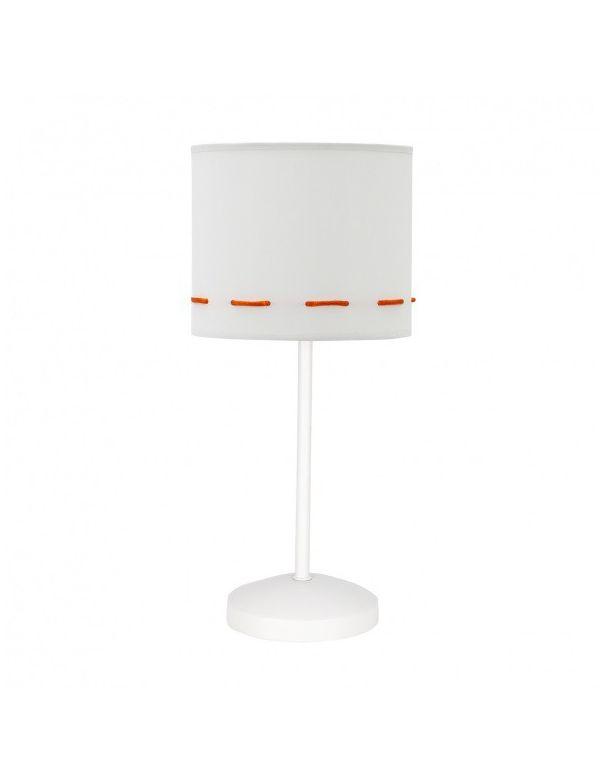 Lámpara de mesita de noche blanca y naranja