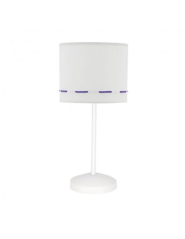 Lámparas de mesita de noche lila y blanco