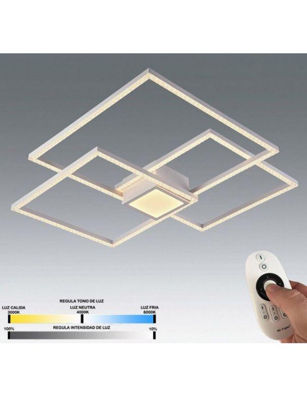 plafon led con mando que regula el color de la luz y la intensidad