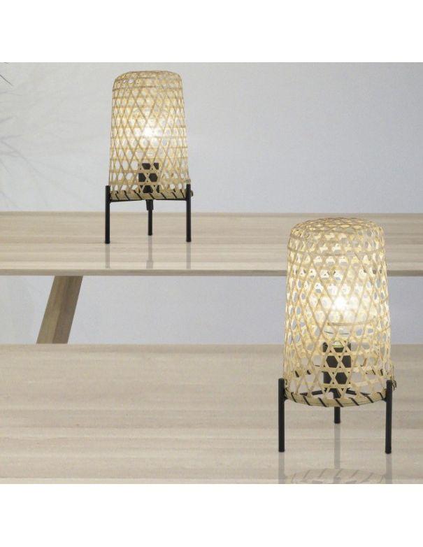 lámpara de mesa bambú