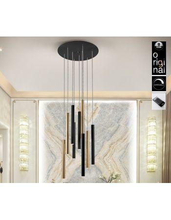 Lámpara Varas Negro Oro Dimable con Mando Schuller