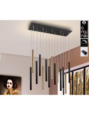 Lámpara Varas de 14 Luces Negro Oro Dimable con Mando
