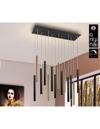 Lámpara Varas de 14 Luces Negro Oro Dimable