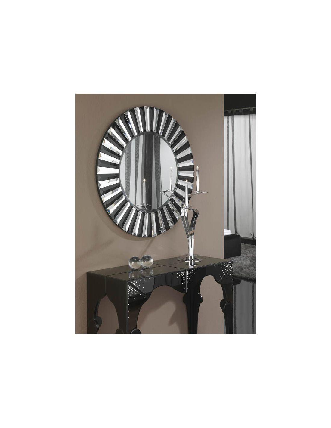 Espejos redondos espejo redondo decoracin flor oro cm for Espejos de madera redondos