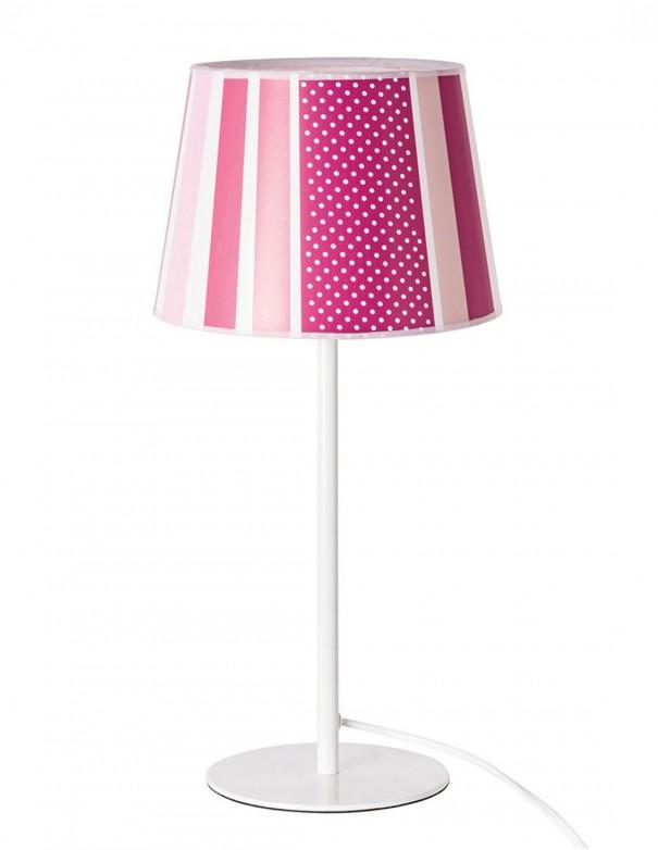 Lámpara de mesita combinando rayas rosas y fucsia