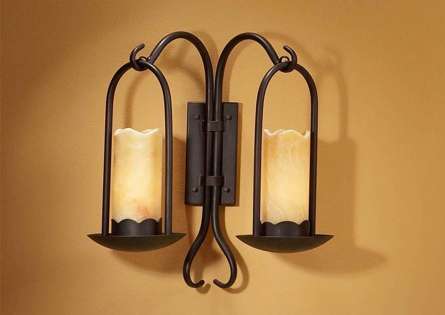 Iluminacion rustica interior bao con lavabo bronce aplique rstico crisol de jaula con puntos - Apliques rusticos pared ...