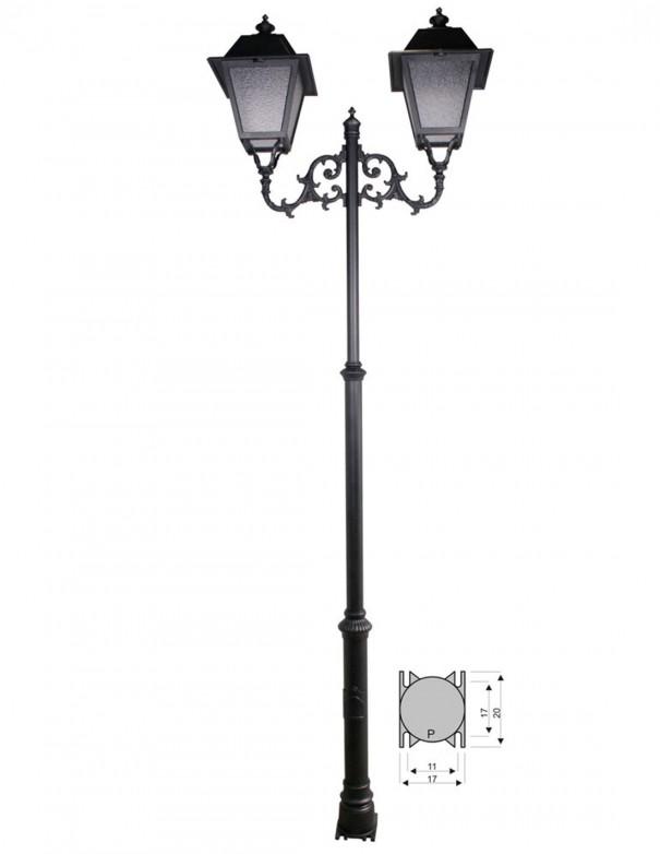 Farola con doble brazo de aluminio pintado en negro