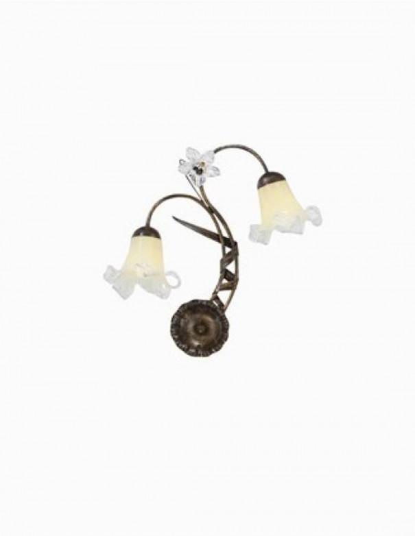 Aplique 2 luces con tulipa de cristal y decoración de flor