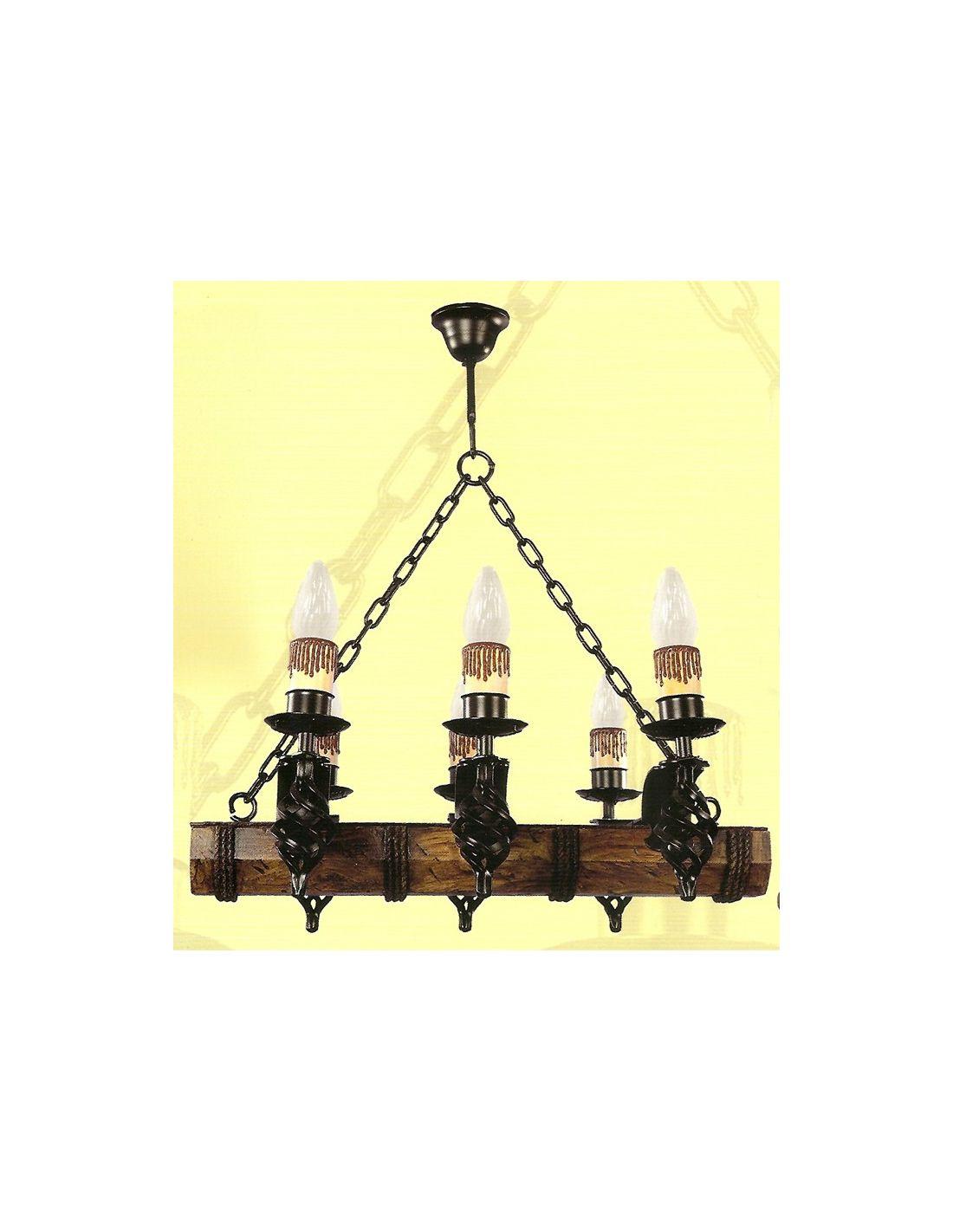 Lmpara de Techo de 6 Luces de madera y forja Envo rpido y seguro